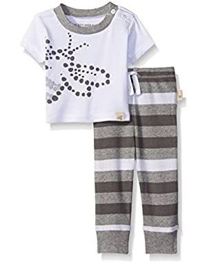 Unisex Baby Organic Bee Tee and Stripe Pant Set