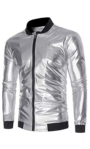 Men's Shiny Metallic Nightclub Varsity Baseball Bomber Jacket Long Sleeve Pilot Jacket Retro Abrigos Chaquetas Abrigo Silber