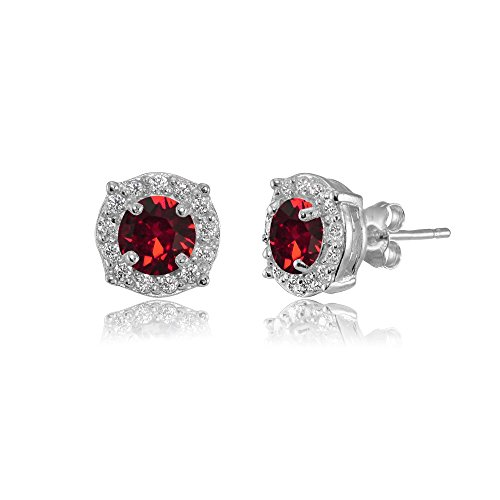 Sterling Silver 5mm Round Dark Red Halo Stud Earrings created with Swarovski Crystals