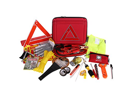 Thrive Roadside Assistance Auto Emergency Kit + First Aid Kit – EVA Case – Contains Jumper Cables, tools, Reflective Safety Triangle and more. Ideal winter accessory for your car, truck, camper