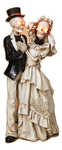 Skeleton Bride Groom Halloween Figurine LED Lighted Eyes