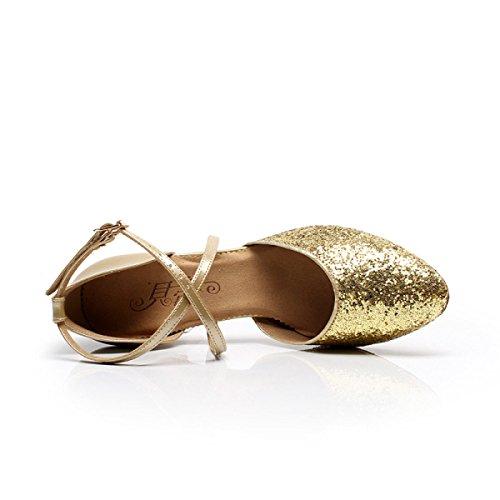 Latino gold Professionista 38 Delle altri Shoe Ragazza Donne Med Satin Salsa Della Scarpe Dance Colori Superiore Sandali Ballroom 5Ua5R