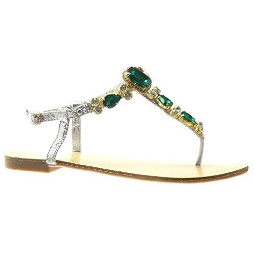 Angkorly - Zapatillas de Moda Sandalias Chanclas correa mujer joyas strass fantasía Talón tacón plano 1.5 CM - Verde