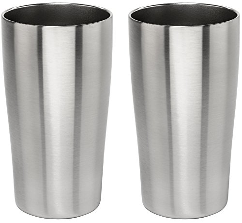 Stainless Vacuum Insulated Beer Tumbler - 16oz Pub Pint Glass by Lancaster Steel, set of 2 (Guiness Gift Set)