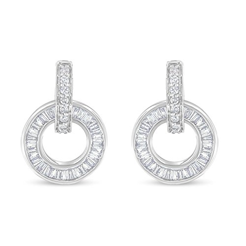 14k White Gold Round and Baguette Cut Diamond Earrings (1 cttw, G-H Color, SI1-SI2 Clarity)