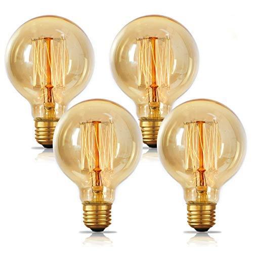 Edison Light Bulbs 60w, Jslinter Globe Dimmable Filament Decorative Bulbs for Home, Vintage Light Bulb G80/G25 Style, E26 Base, Classic Amber (4 Pack)