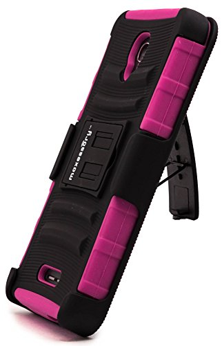Maxessory [Trailblazer] Dual-Layer Heavy-Duty Hybrid + Built-in Belt Clip Holster w/Rigid Rugged Kickstand Protective Armor Cover Hot Pink Gray for Alcatel Fierce 4 Cover Case