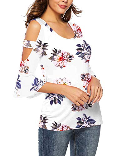 (Womens Tee Shirt Cold Shoulder U Neck Sexy Tops Casual T Shirt Floral-White XL)
