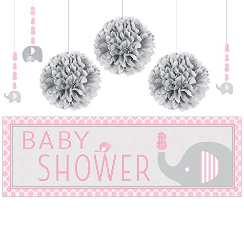 Party City Pink Baby Elephant Decorations, Include 6 Hanging String Decorations, 3 Pom Poms, and a Giant Banner]()