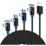 Right Angle Micro USB Cable, SUNGUY [4 Pack] 1.5ft/3ft/6ft/10ft Reversible Micro USB 2.0 Fast Charging Data Syn Cord for Samsung Galaxy S7 S6 edge S5 Tab 2 3,Moto G5 Plus,Kindle Fire 10 More - Black
