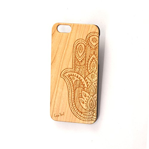 Price comparison product image Half Hamsa Hand Wood Engraved Phone Case for iPhone 6 / 6s (iPhone 5 / 5s)