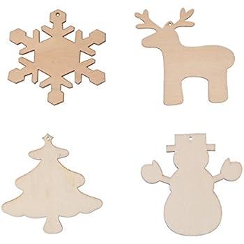 LUOEM Wood Christmas Ornaments DIY Craft Wood Embellishments Cutout Veneers Slices,Pack of 4