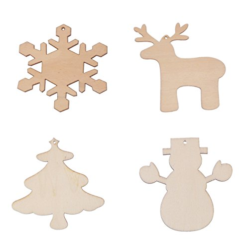 LUOEM Wood Christmas Ornaments DIY Craft Wood Embellishments Cutout Veneers Slices,Pack of 4
