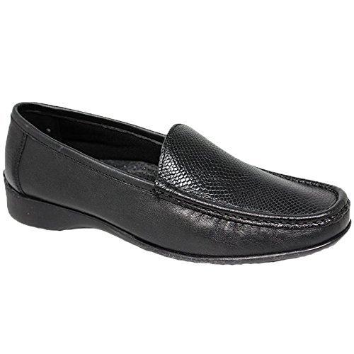 ZAFIRO Boutique flv002 JENNY Mocasín De Cuero Dos Tonos Mocasines estampado de serpiente Zapatillas Planas - Negro, 3 UK: Amazon.es: Zapatos y complementos