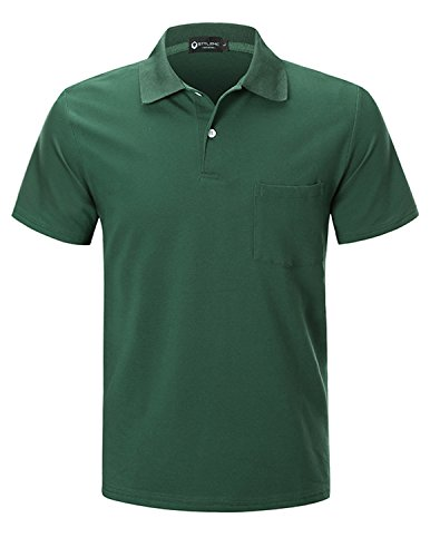 STTLZMC Men's Short Sleeve Polo Shirts Custom Fit Golf Original Tops with Pocket,Green,Large (Custom Fit Polo)