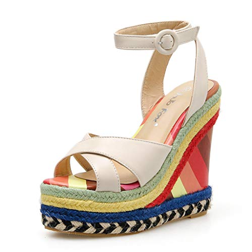 Women Girls Wedges Weaved Roman Sandals Retro High Waterproof Platform Slingback Sandal Vintage Colorful Beach Dress Shoes (Beige, 7 .5 M US)