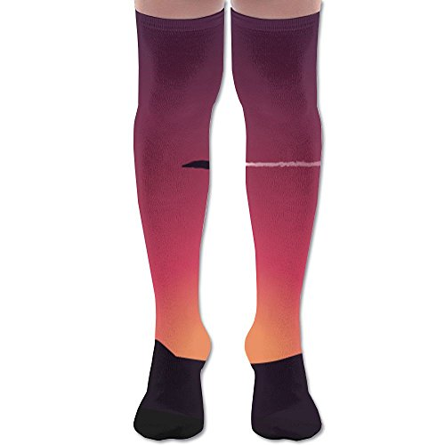 Aircraft Sunset Mountain Moon Polyester Cotton Over Knee Leg High Socks Cool Unisex Thigh Stockings Cosplay Boot Long Tube Socks For Sports Gym Yoga Hiking Cycling Running (Craft Pro Cool Bike)