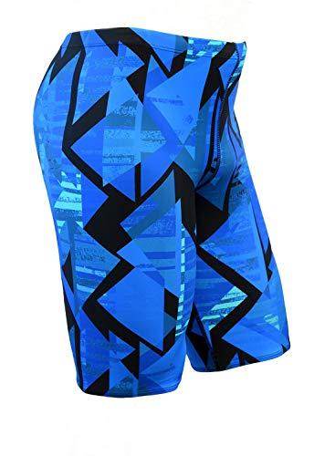 Adoretex Boy's/Men's Printed Pro Athletic Jammer Swimsuit Swim Shorts (MJ014) - Blue Combo - 32