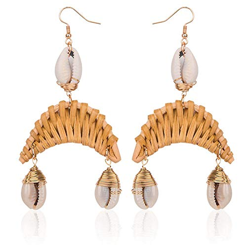 KissYan Handmade Shell Rattan Drop Earrings Boho Weave Straw Statement Dangle Earrings Ocean Sea Style (Crescent) ()
