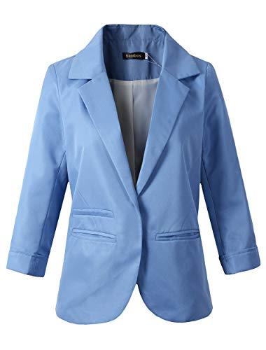 Women's Boyfriend Blazer Tailored Suit Coat Jacket (TG-503 Light Blue, XL)