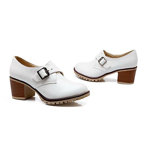 cuir pumps balamasa Imitation heels Femme Boucle kitten Blanc shoes 1Xx6qp