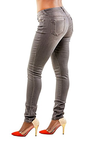 Poetic Justice Women's Curvy Fit Grey Stretch Denim Blasted Midrise Skinny Jeans Size 32 x 32Length (Straight Skinny Jeans Sleek)