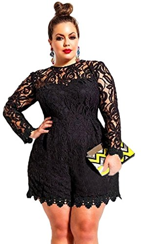 Kearia Womens Sexy Plus Size Long Sleeve Party Slim Jumpsuit Lace Romper Black XXLarge