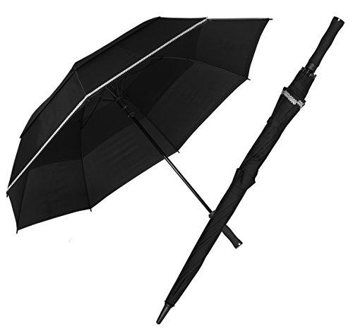 Doppler Large Golf Umbrella Automatic Fiberglass Reflex Black with Silver Reflective Trim - Golf Umbrella Lightweight Fiberglass