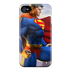 Scratch Protection Hard Phone Cases For Apple Iphone 4/4s (XQM22587TLwU) Unique Design Realistic Superman I4 Pattern