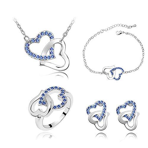 Buy women's necklace & earrings double hearts