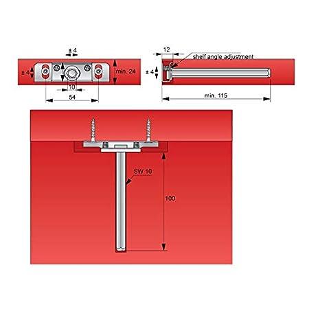 lunghezza 112 mm Supporto per mensola a scomparsa Furnica
