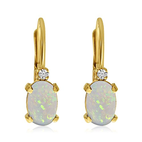 (0.27 Carat (ctw) 14k Yellow Gold Oval White Opal and Diamond Solitaire Dangle Earrings with Lever Back (6 x 4 MM))