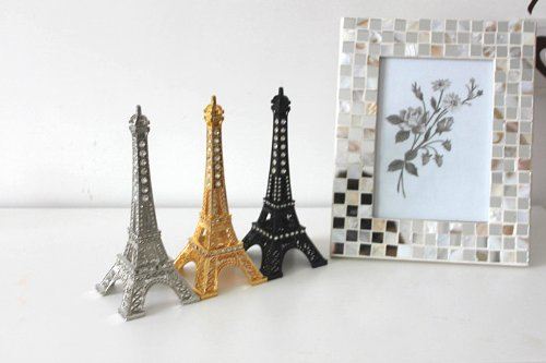 Apexshell New Arrival 18CM Rhinestone Metal Marvels Eiffel Tower Paris France Figurine Replica Centerpiece Room Table Decor Jewelry Stand Tea Candle Holder
