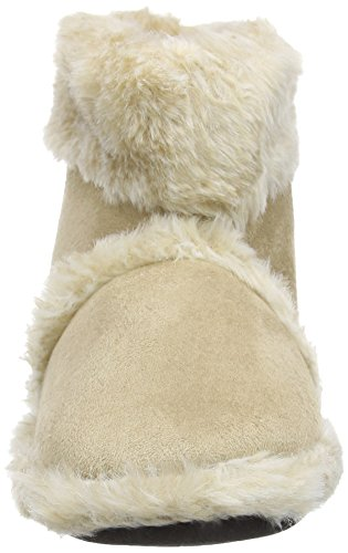 New Ladies Cooler Fun Microsuede Slippers Fluffy Warm Ankle Snug Boot Beige qpvCSHGKL
