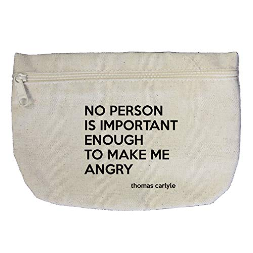 No Person Is Enough To Make Me Angry (Thomas Carlyle) Cotton Canvas Makeup Bag