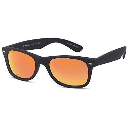 GAMMA RAY UV400 55mm Classic Adult Style Sunglasses - Mirror Orange Lens on Matte Black - Polarized Kids Sunglasses