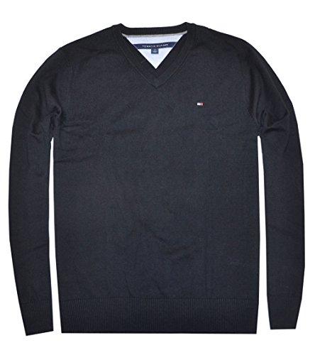 Tommy Hilfiger Men Logo V-neck Sweater Pullover (S, (Logo V-neck Sweater)