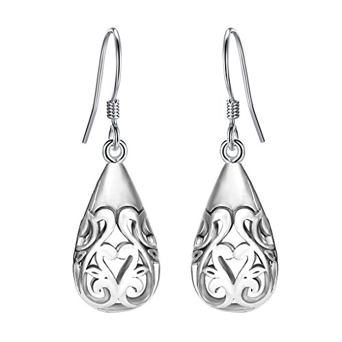 EVER FAITH Women's 925 Sterling Silver Bali Inspired Heart Filigree Puffed Teardrop Dangle Hook Earrings