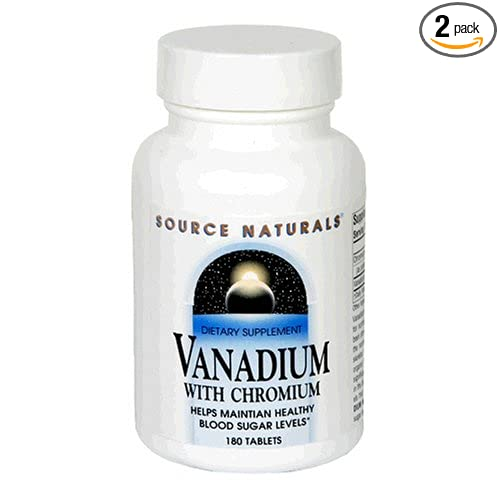 Source Naturals Vanadium with Chromium, 180 Tablets (Pack of 2)
