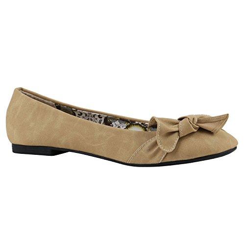 Stiefelparadies Klassische Damen Ballerinas Strass Leder-Optik Schuhe Elegante Slipper Slip On Flats Glitzer Übergrößen Abiball Flandell Creme Muster