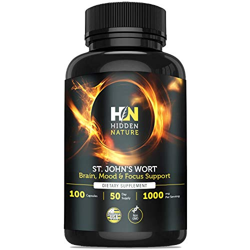 St Johns Wort Capsules 1000mg ǀ Powerful Nootropics, Anti Depressant, Anti Anxiety, Mood Support & Stress Relief ǀ 100 St Johns Wort Capsules Natural Supplements for Depression & Seretonin Booster