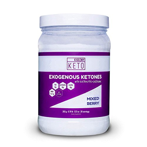 Kiss My Keto Pre Workout - Caffeine and Electrolytes Exogenous Ketones Powder Drink, 20 Servings Mixed Berry, 12.5 oz GoBHB® Salts, Fat Burning, Boosted Energy, Get Into Ketosis Beta Hydroxybutyrate