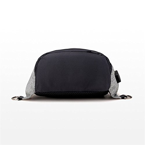 Laitb paquete de pecho bolsa de mensajero con USB para hombre (negro) gris