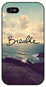 iPhone 5C Breathe. Sea and sunset - Black plastic case / Inspirational and motivational life quotes / SURELOCK AUTHENTIC