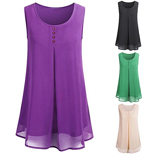 FarJing Hot Sale Women's Summer Layered Crew Neck Pleated Soft Chiffon Sleeveless Blouse Tops (M,Purple) (Pleated Apparel Wrap Sales)