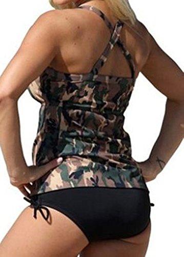 Crazycatz@Damen Zwei Stück Plusgröße Badebekleidung Tankini Sets Camouflage-Druck
