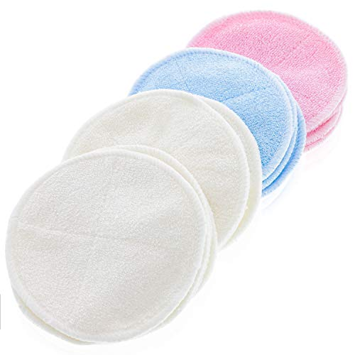 16 PACK Reusable Makeup Remover Bamboo Cotton Pads - Organic Cotton Rounds - Laundry Bag Included - Zero Waste and Chemical Free Face Wipes - 2 Layers of Organic Bamboo Velour Cloth ()