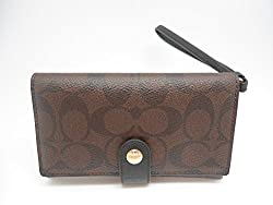 COACH F53975 PHONE CLUTCH IN SIGNATURE BROWN/BLACK