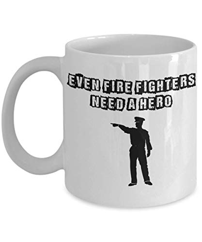 (PixiDoodle Fire Fighter Policeman Hero Coffee Mug (11 oz, White))