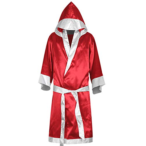 Phoenixb2c Boxing Robe with Hood Boxing Robe for Men and Women Boxing Robe Satin Red L
